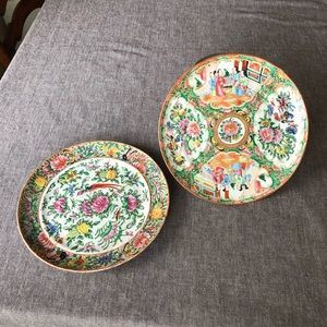 Rose Mandarin Antique Chinese hand painted plates